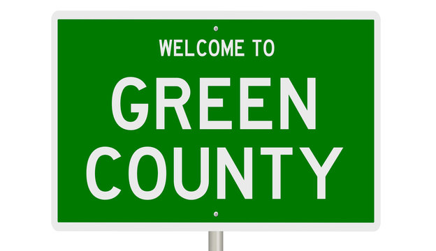 Rendering of a 3d green highway sign for Green County