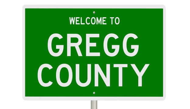Rendering of a 3d green highway sign for Gregg County