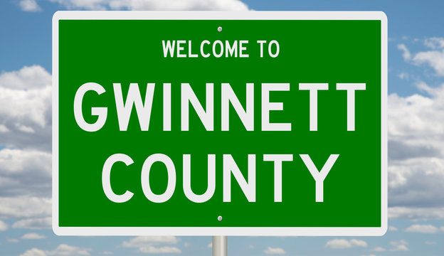 Rendering of a 3d green highway sign for Gwinnett County