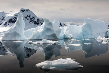 Papiers peints Antarctique Interesting shapes of icebergs reflected in the waters of Paradise Habour, Antarctica