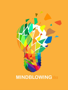 Mindblowing brilliant idea poster illustrated by an exploding colorful light bulb