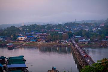 beautiful scenic of sangkhlaburi western territory of kanchanaburi thailand