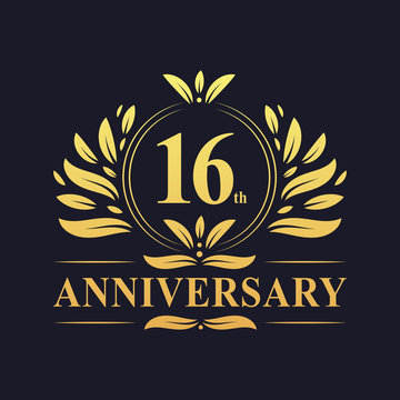 16th Anniversary logo, luxurious golden color 16 years Anniversary logo design celebration.