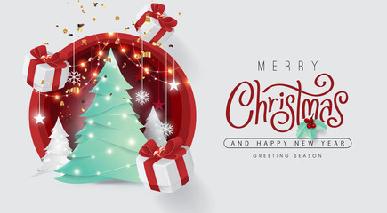 Fototapete - Merry christmas and happy new year background Decorated with christmas tree and gift box paper cut style.Glowing lights Vector Illustration.