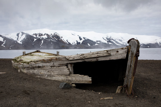 Old wooden whaling boat on the beach at Whaler's Bay, Antarctica