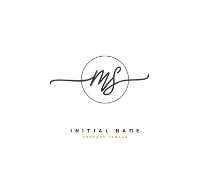 M S MS Beauty vector initial logo, handwriting logo of initial signature, wedding, fashion, jewerly, boutique, floral and botanical with creative template for any company or business.