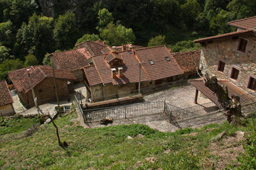Architecture in village Las Ilces near Espinama in national park Picos de Europa in Cantabria,Spain,Europe