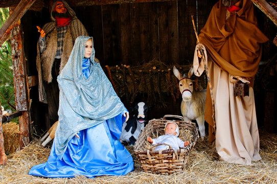 Nativity scene with clay figures in the village of Luceram in south of France