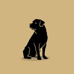 Rottweiler dog - isolated vector illustration