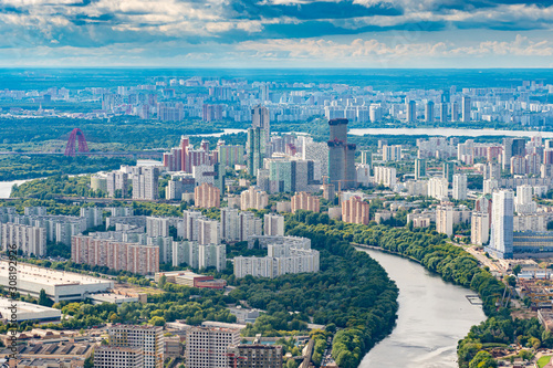Moscow River Russia Moscow Skyline Panorama Of Moscow City Architecture The Capital Of Russia Top View Downtown With Quadcopter The Russian Federation Summer Vacation In Russia Wall Mural Grispb