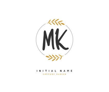 M K MK Beauty vector initial logo, handwriting logo of initial signature, wedding, fashion, jewerly, boutique, floral and botanical with creative template for any company or business.
