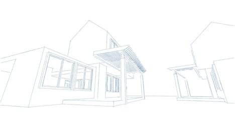 Architectural sketch line, House design work free hands drawing, Blueprint construction, 3D illustration