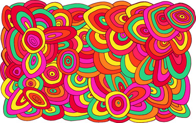 Fototapeta Circles doodle pattern. Multicolor bright psychedelic texture. Abstract line art sketch background. Vector illustration obraz