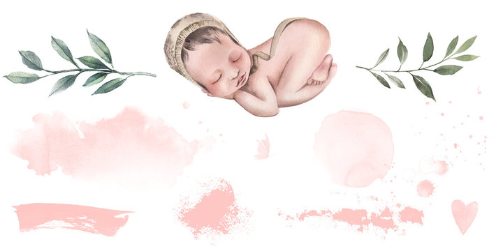 The newborn is sleeping, plant branches, frames, stains and brush strokes for the blog, social networks and printing.