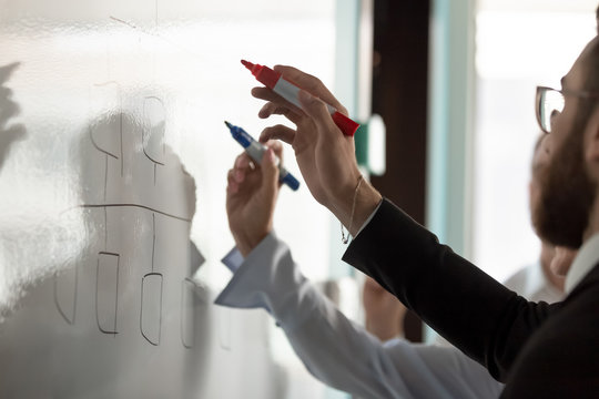 Businesspeople write on white board developing business plan together