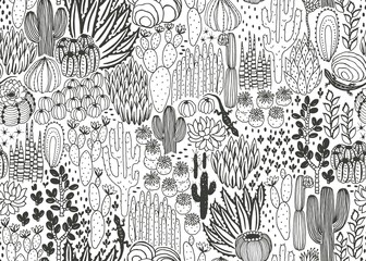 Mexican seamless pattern with cacti, succulents and lizards, wilderness, environment, landscape, thicket. Vector rectangle hand drawn illustration in vintage style, dark silhouette on white background