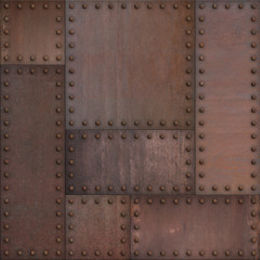 Wall Mural - Steam punk or steampunk rusty armor metal background. Mixed media.