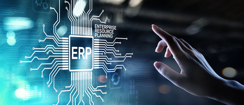 ERP - Enterprise resource planning business and modern technology concept on virtual screen.
