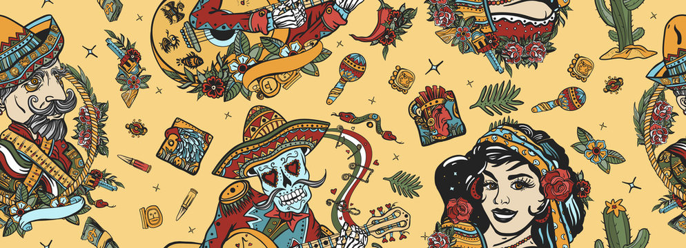 Mexico. Seamless pattern. Skeleton with guitar, mexican woman, bandit. Day Of Dead art. Old school tattoo vector background. National culture and people. Traditional tattooing style