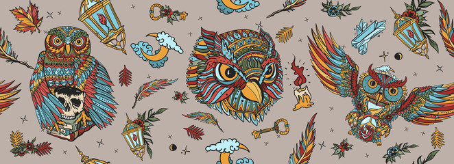 Owls seamless pattern. Magic birds, traditional tattooing background. Fairy tale art. Old school tattoo style
