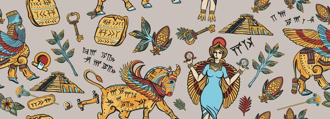 Ancient Sumerian Civilization. Seamless pattern. Assyrian culture. Gilgamesh legends. Middle East history background. Mesopotamian goddess. Cuneiform writing, ziggurat. Old school tattoo style