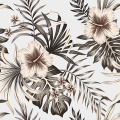 Tropical vintage graphic hibiscus plumeria floral palm leaves seamless pattern grey background. Exotic summer wallpaper.