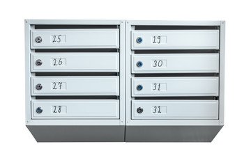 Group of mailboxes with apartment numbers isolated on a white background