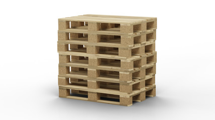 Some standard wood pallet straight stacked