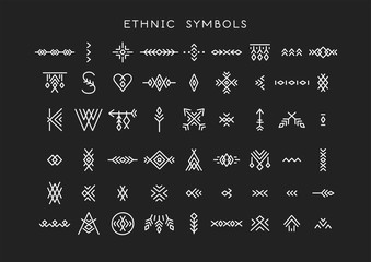 Stores à enrouleur Style Boho Vector set of line art symbols for logo design and lettering in boho and hipster style.