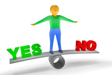 Character balances between yes and no, 3D illustration