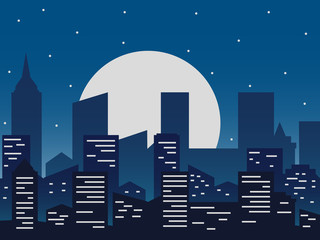 Night city vector illustration. Night urban picture in flat style, abstract background.