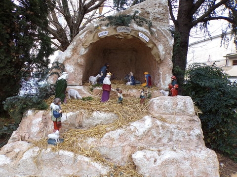Aprilia, Latina, 12/08/2019, nativity scene, crib set up in a square