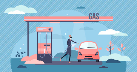 Gas station vector illustration. Fuel refill process in tiny person concept
