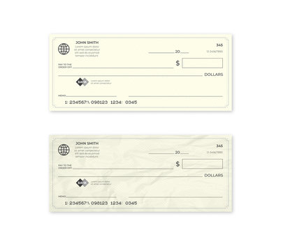 Realistic blank bank check. New and crumpled cheque.