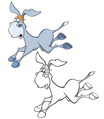 Illustration of a Cute Cartoon Character Burro for you Design and Computer Game. Coloring Book Outline Set