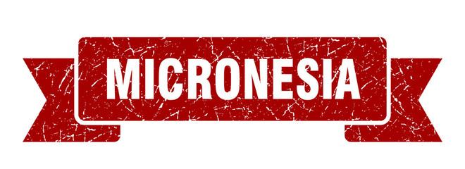 Micronesia ribbon. Red Micronesia grunge band sign