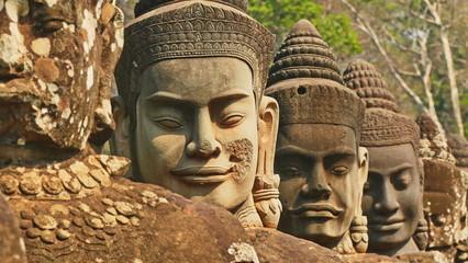 Skulptur in ankor wat, wat bayon in kambodscha, siem reap, Fototapete