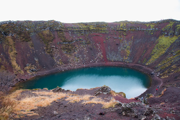Fotobehang Aubergine Kerid or Kerith volcanic crater lake at the Golden Circle in Iceland.