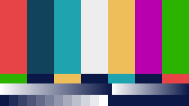 Fake abstract No Signal TV retro television test pattern for creative work. Color RGB Bars vector Illustration.