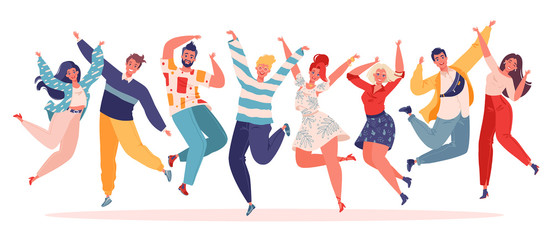 Group of young joyful jumping people with raised hands isolated on white background. Happy positive and laughing men and women rejoicing together. Vector illustration in flat cartoon style.