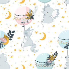 seamless pattern with flying animals on the background of stars - vector illustration, eps