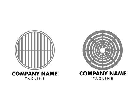 Set of Manhole Cover Logo Template Design