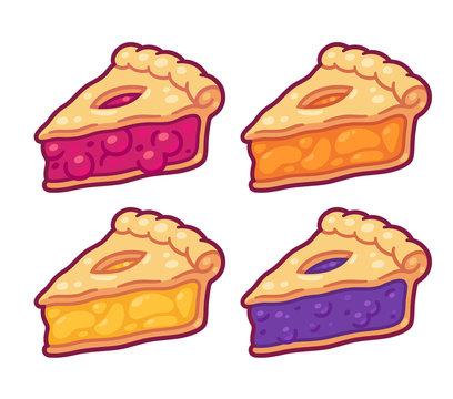 Cartoon pie slices set