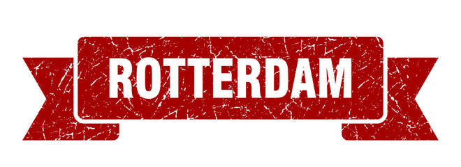 Photo sur Aluminium Rotterdam Rotterdam ribbon. Red Rotterdam grunge band sign