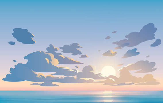 Vector landscape sky clouds. Sunset. Anime clean style. Background design