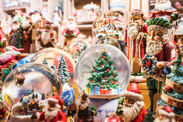 Sales of Christmas decorations on the traditional Christmas market in Europe
