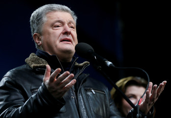 """Ukraine's former President Petro Poroshenko takes part in a rally ahead of the so-called """"Normandy"""" format summit, in Kiev"""