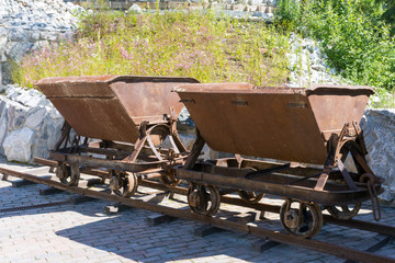 trolley for transportation of ore in Ruskeala canyon