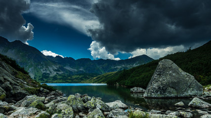5 lakes valley in Tatra Mountains, Poland. Landscape with lakes and ridges in Poland side of Tatry massif