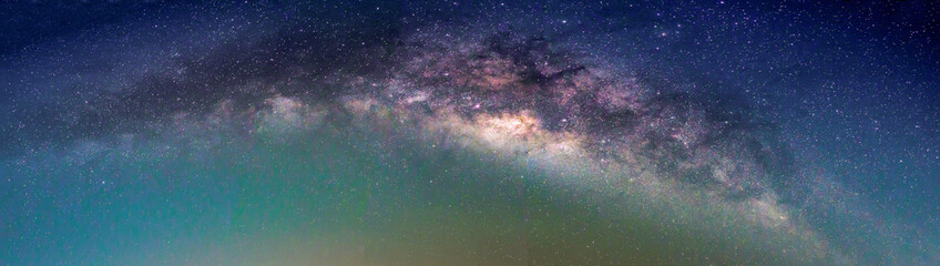 Wall Mural - Landscape with Milky way galaxy. Night sky with stars.